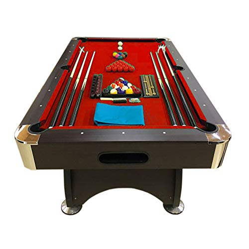 Simba Pool Table Billiard Red Cloth Indoor Sports Billiards Table Game - (7 ft, RED Devil)