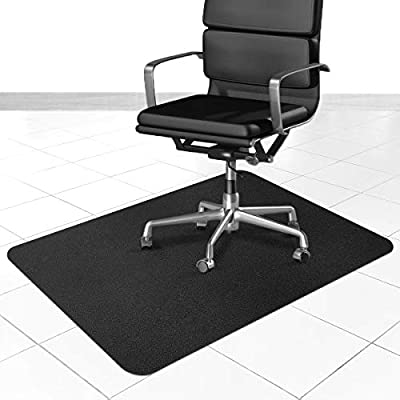 Cqfly Office Chair Mat for Hardwood and Tile Floor, 35x47 inches Straight Edge Rectangular Sturdy Multi-Purpose Polyethylene + EVA Desk Chair Mat, Anti-Slip, Non-Toxic Plastic Protector (Black)