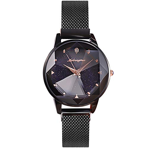 RORIOS Fashion Damen Armbanduhren Leuchtenden Sternenklarer Himmel Dial Armband Meshband Women Watch Damenuhr Armbanduhr
