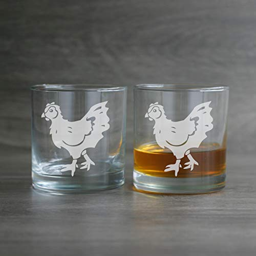 CHICKEN Lowball Glasses set of 2 - Dishwasher-safe etched whiskey glass