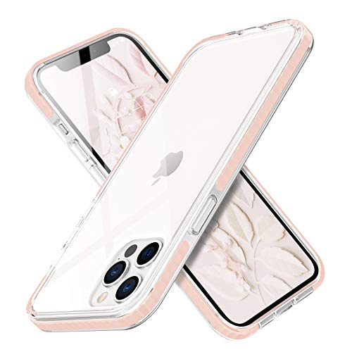 MATEPROX Transparente Funda para iPhone 12 Pro MAX, Anti-rasguños Anti-Amarillo Fundas y Protector Airbag Carcasa para iPhone 12 Pro MAX 6.7'' 2020-Rosa