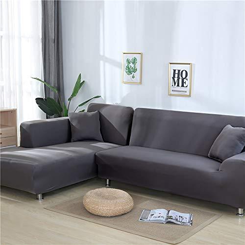 TIYKI Super Stretch Funda De Sofa,L Forma Cubiertas De Couch para Seccional,Color Sólido Sofá Cubierta De Cama,para Sala De Estar Perro Protector De Muebles De Mascotas-Gris. 145-185cm(1pic)