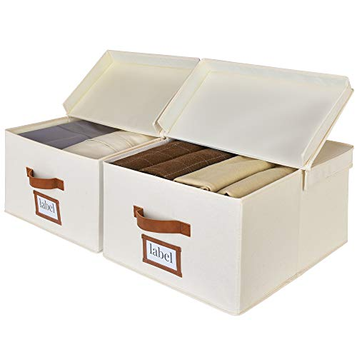 StorageWorks Storage Bin for Shelf Decorative Closet Storage Box with Double-Open Lid and PU Handles Hand Wash Canvas Ivory White Large 2-Pack