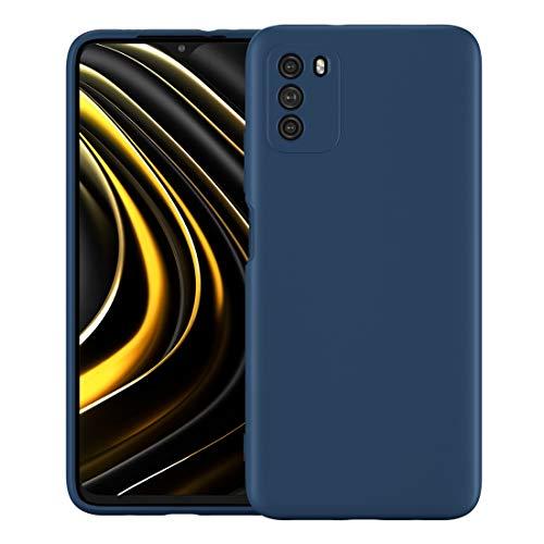 Foluu Schutzhülle für Xiaomi Poco M3, flüssiges Silikon-Gel, Gummi, Stoßfänger mit weichem Mikrofaser-Innenfutter, dünn, stoßfest, Schutzhülle für Xiaomi Poco M3 2020 (blau)