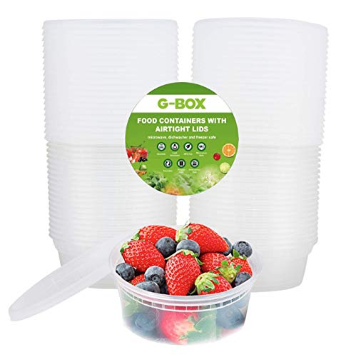 G-BOX 48 Sets of 8 OZ Deli Containers, Food Storage Containers with Airtight Lids - BPA FREE - Microwave, Dishwasher, Freezer Safe - Stackable & Reusable - Suitable for Meal Prep, Soup, Slime, Fruits