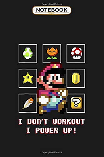 Notebook: Super Mario Don't Work Out Power Up Retro Tank Top, Wide ruled 100 Pages Bank Lined Paperback Journal/ Composition Notebook