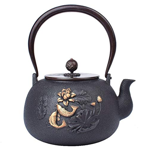 YSXZTCHC Tetera de Hierro Fundido de Estilo japonés Hecho a Mano de la Caldera, Juego de té de Cobre de la manija/Tapa Peces patrón y Lotus Universal for 1.2L Estufa