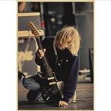 yitiantulong Impression sur Toile Peinture sans Cadre Kurt Cobain Dei Nirvana Rock Affiche Café Bar Affiche Rétro Affiche Mur Autocollant Y153 (40X60Cm) sans Cadre