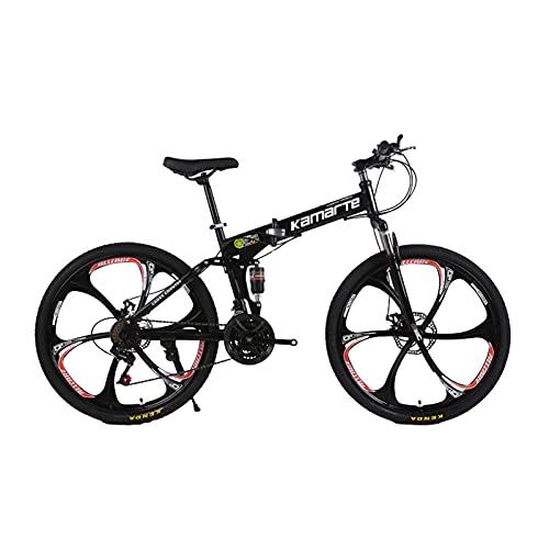 Faltbares Mountainbike, Offroad-Mountainbike, Mountainbike Mit Variabler Geschwindigkeit FüR Erwachsene, StoßDäMpfung, Rahmen Aus Kohlenstoffstahl (Sechsmesserrad-schwarz)