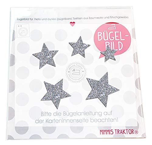 Bügelbild 5 GLITZER Sterne 4 cm bis 2 cm, 40 mm bis 20 mm, Farbe:Glitzer silber