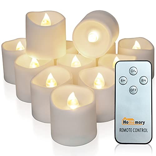 Homemory 12Pack Remote Control Flameless LED Votive Candles, Long Lasting Battery Operated Tea Light with Timers, Electric Fake Candles in Warm White for Wedding & Festival Celebration Decorations