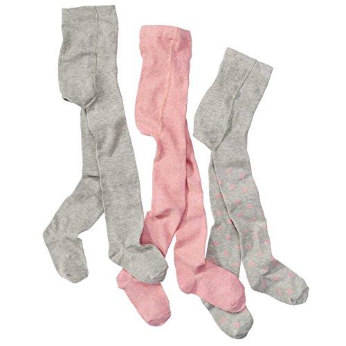 wellyou, Kinder-Strumpfhosen für Mädchen 3er Set, Baby-Strumpfhosen rosa, grau mit Punkten, hoher Baumwoll-Anteil, Größe 62-68