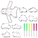 9 Pieces Transportation Vehicle Cookie Cutter Set, Train, Truck, Dump Truck, Vintage Car, Airplane, Ship, Bus, Car Shaped Stainless Steel Biscuit Cutter with 6 Pieces Sugar Stirring Pins for Baking
