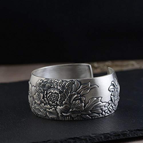 ZGRJIUERYI dames zilveren armband, handgemaakte originele armband S990 retro matte armband vrouwelijke modellen brede versie van de pioen bloem open rijke etnische stijl kleding accessoires