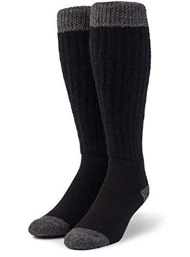 Warrior Alpaca Socks - Unisex Terry Lined Colorblock Long John Alpaca Wool Socks (Medium, Terry Lined Black/Gray)