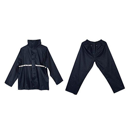 Homyl 1 Ensemble Imperméable Réutilisable Veste de Pluie avec Pantalon de Pluie - Marine, XL