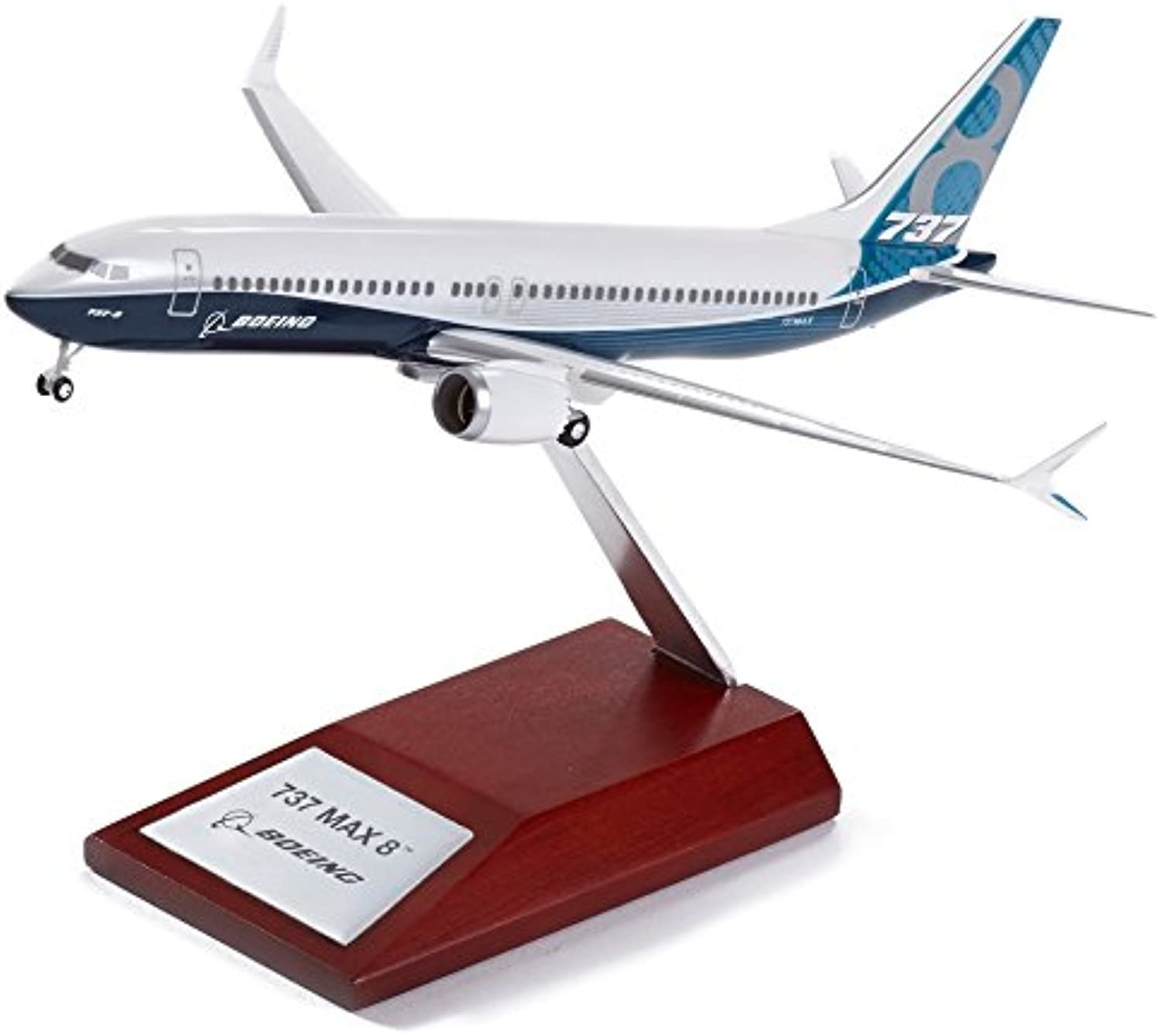 Boeing 737 Max Precision Snap Model on Wooden Base  Scale 1 200