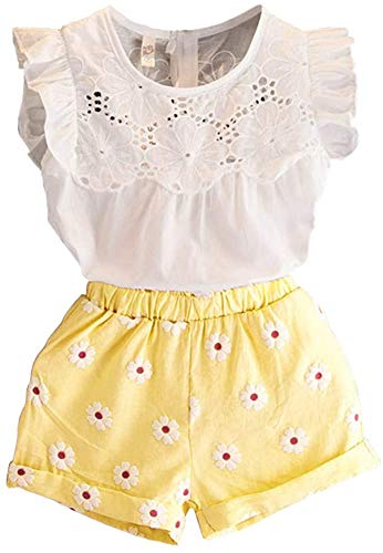 2PCS Set Toddler Kids Baby Girls Outfits Clothes T-Shirt Vest Tops+Shorts Pants(2-6 T) White Yellow