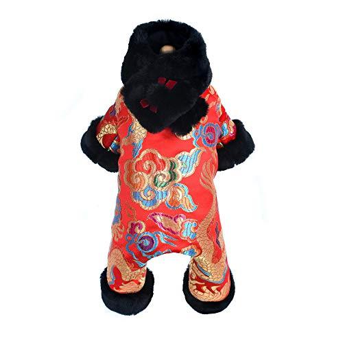 Jingyinyi Huisdier kleding, winter gebreide katoenen broek met vier benen voor honden, 16, Rood