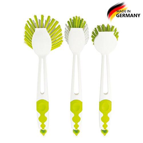 Premium 3er Spülbürstenset in mehreren Ausführungen und Farben | Topfbürste | Spülbürste | Gläserbürste | Mixtopfbürste für alle gängigen Thermokocher | - Made in Germany - (Limegreen)