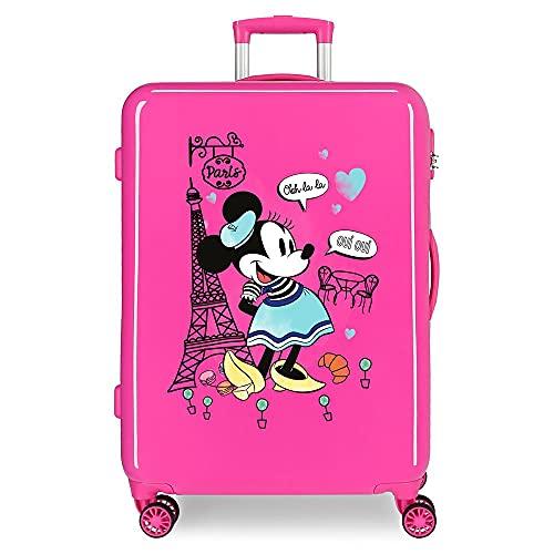 Disney Minnie Around The World Maleta Mediana Rosa 48x68x26 cms Rígida ABS Cierre de combinación Lateral 70 3 kgs 4 Ruedas Dobles