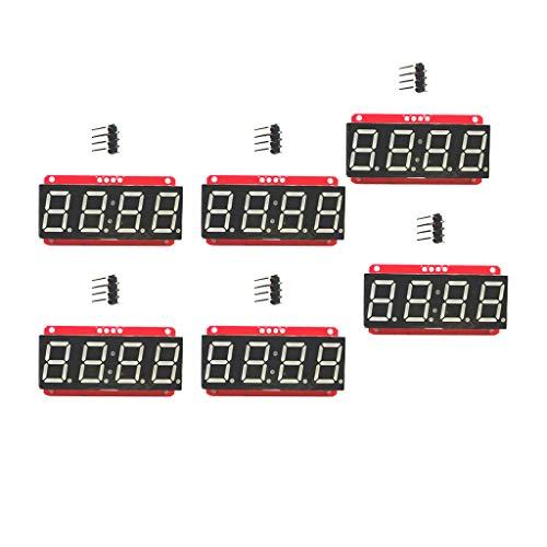 FLAMEER 6pcs 0,56 ''4-Stellig 7-Segment LED Display Modul Ht16k33 12C für Arduino, 5,03 × 2,68 × 1,2 cm