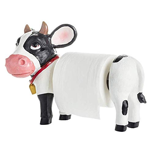 JJLL Decorative Holstein Cow Paper Towel Holder Display Stand for Countertop Rustic Country Kitchen Décor As Farm Animal Gifts for...