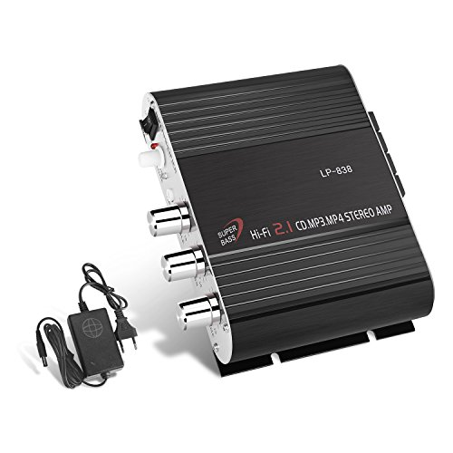 GHB Amplificatore Audio Stereo Auto Mini Amplificatore Auto e Casa 200W Dual-Use 2.1CH per Moto Scooter MP3 CD DVD con Alimentatore