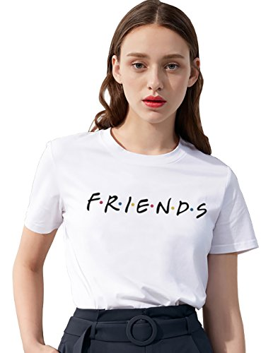 Friends Shirt Damen Shirts Sommer Süß Partnerlook Freund Shirt Frauen Oberteile Tops T-Shirt mit Aufdruck Buchstaben Kurzarmshirt Sport Mädchen Outdoor Freizeitkleidung 1Pcs(Weiß-Friends-S)