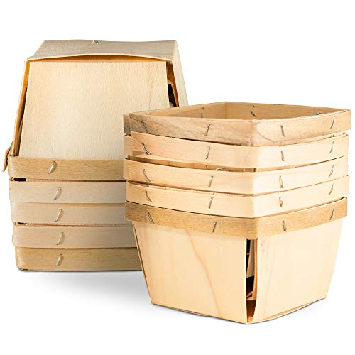 """One Pint Wooden Gift Baskets (10 Pack); for Picking Fruit or Arts, Crafts and Decor; 4"""" Square Vented Wood Boxes"""
