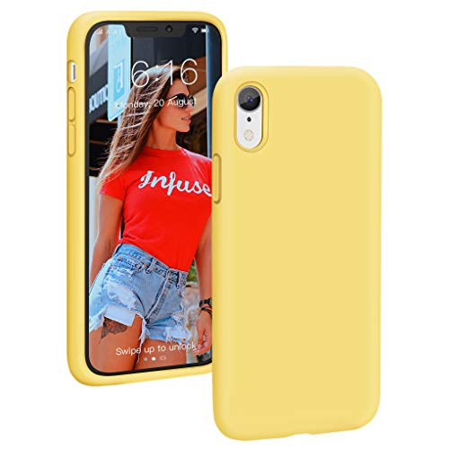 PROBIEN Liquid Silicone Case for iPhone XR Gel Soft Rubber Phone Case Full Body Drop Protection Shockproof Protective Cover 6.1 inch - Light Yellow