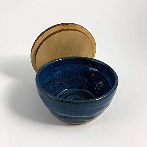Handmade Blue Pottery Shaving Bowl with Lid