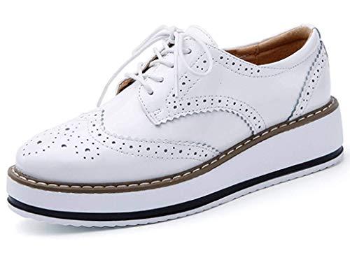 Minetom Damen Derby Brogue Schnürhalbschuhe Anzugschuhe Flügelspitzen Plattform Oxfords Schuh PU Leder Britischer Stil Bullock Schuhe Weiß EU 39
