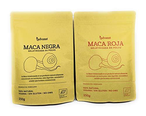 Maca Roja y Maca Negra Gelatinizadas en Polvo 500 g (Pack 2 unidades de 250 g). Sin Gluten, Bio y Vegana. Energía, Fertilidad, Equilibrio Hormonal y Salud Sexual para Mujeres y Hombres