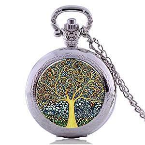 Vintage Time Stone Halskette bunter Baum des Lebens Taschenuhr Halskette Steampunk Schmuck lange Halskette