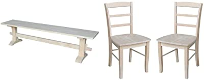 International Concepts Bench, Unfinished & Concepts Madrid Dining Chair, Height, Unfinished