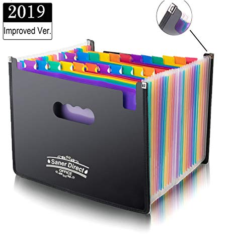 SanerDirect Expanding File Folder, 24 Pockets Multi-Color Accordion A4 Documents File Bill Letter Organiser, Plastic Portable Filling Storage with Big Capacity Expandable Wallet Stand