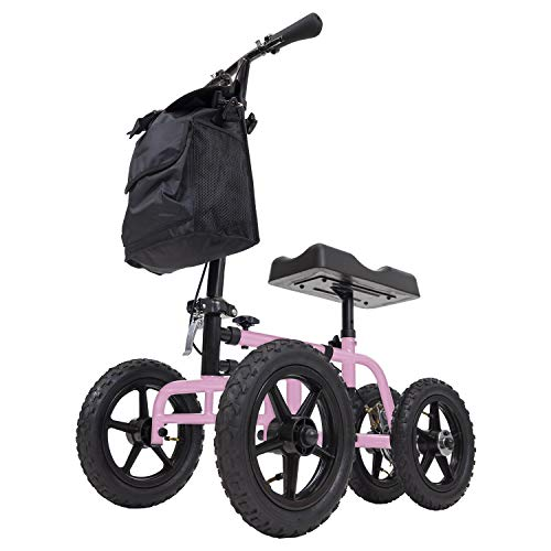 Vive Mobility All Terrain Knee Walker - Steerable Scooter for Broken Leg, Foot, Ankle Injuries - Kneeling Quad Roller Cart - Orthopedic Pad for Adult and Elderly Medical - 4 Wheel Caddy Crutch (Pink)