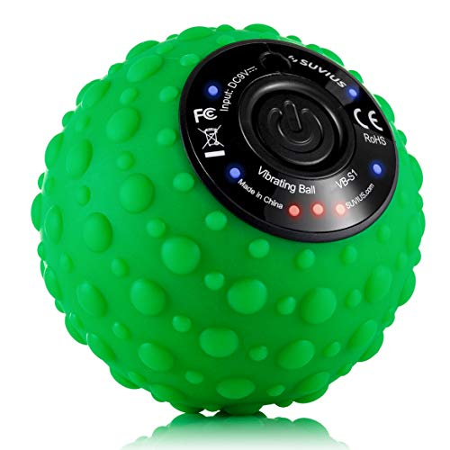 Vibrating Electric Ball Rechargeable Foam Roller - 4 Intensity Levels for Firm Battery-Powered Deep Tissue Recovery, Training, Massage - Therapeutic Back and Muscle Massage Roller (Green)