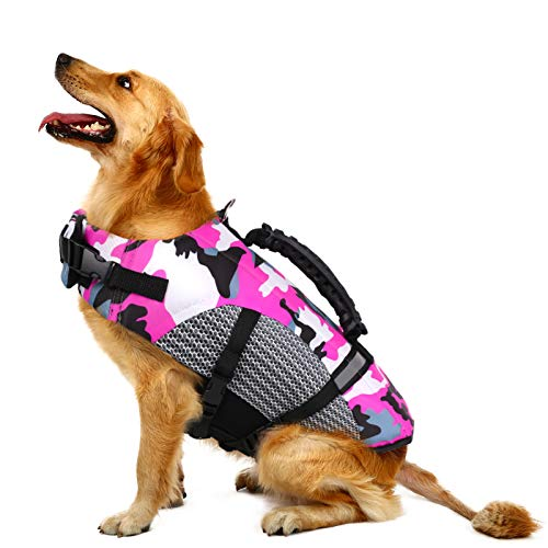 MIGOHI Dog Life Jacket Ripstop Pet Floatation Safety Vest Adjustable Swimsuit Reflective Preserver with Rescue Handle for Swimming and Boating Small, Medium, Large Dogs(L, Pink)