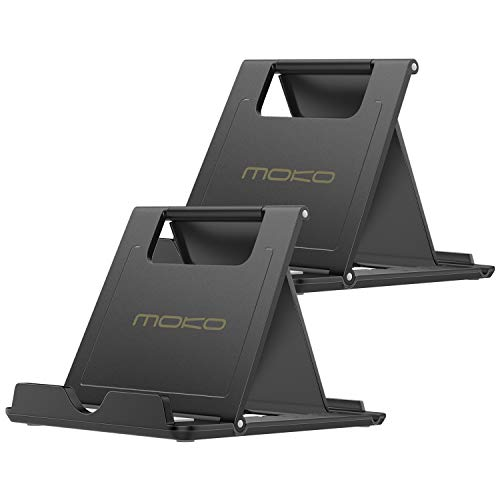 "MoKo [2 Pack Phone/Tablet Stand, Foldable Desktop Holder for 4-11"" Devices, Fit iPhone 12 Pro Max/12 Mini, 11 Pro Max, iPad Pro 11/10.2 (8th Gen) /Air 3/Air 4 10.9/Mini 5, Galaxy S20, Black"