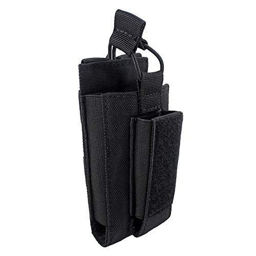 Depring Open-Top Single Mag Pouch for Rifle and Pistol Molle Elastic Kangaroo Magazine Bag with Front Loop Panel (Black)