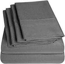 Sweet Home Collection 6 Piece Bed Sheets 1500 Thread Count Fine Microfiber Deep Pocket Set-Extra Pillow Cases, Value, Queen, Gray