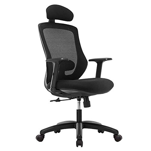 JIEER-C leerstoel bureaustoel eenvoud verstelbaar heupkussen actieve hoofdsteun mesh design comfortabele ademende draaistoel draaggewicht 250 kg (kleur: rood) zwart