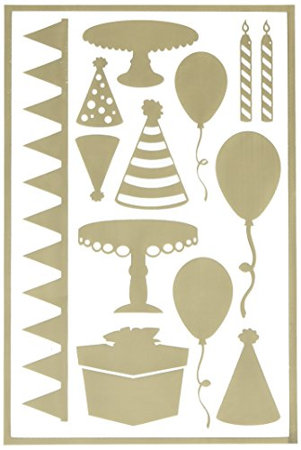 Hazel & Ruby HRSM335 Peel Away Shapes Stencil Mask Sheet, 12 by 8-Inch, Celebrate