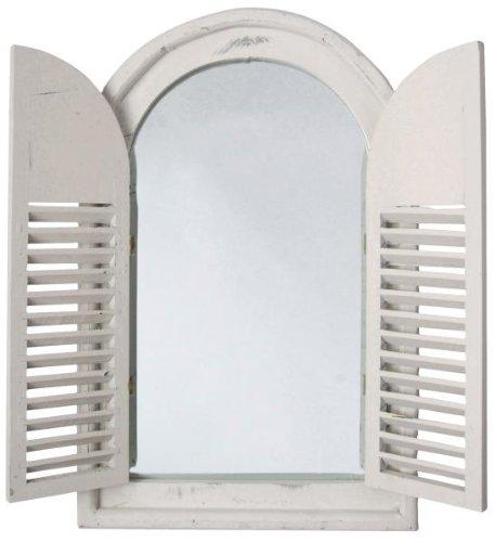 Esschert Design Miroir Mural avec 2 persiennes Blanc Env. 59 x 38 x 4,5 cm