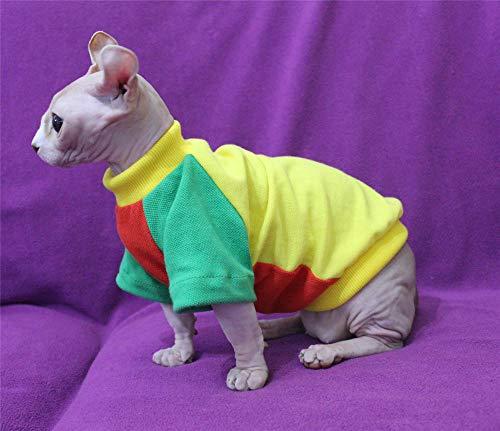 TENGTUD Hairless Cat Kleidung, verdicken Sphynx/Devon Cat Winter Stitching Farbe Kleidung-M_02