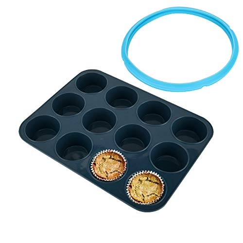 Vnray Silicone Muffin Baking Pan Cupcake Tray 12 Cup - Nonstick Bakeware Cake Molds/ Tin and Silicone Sealing Ring Compatible with Instant Pot 6 Quart InstaPot, IP Pot Accessories 5/ 6QT, BPA Free
