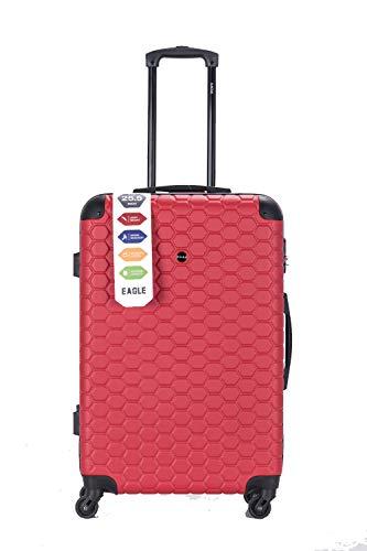 Maleta de Viaje rígida de plástico ABS, con Ruedas giratorias, con candado de combinación y 4 Ruedas giratorias Rojo Red 26 Inch 73 x 47 x 25 cm, 72L, 3.7 KG