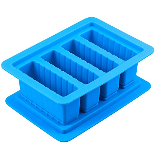 Butter Silicone Tray Mold, The Butter Maker with Lid Storage Jar Large 4 Cavities Rectangle Container for Butter, Soap Bar, Energy Bar, Muffin, Brownie, Cornbread, Cake, Pudding